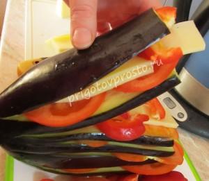 баклажаны с овощами запеченные веером в духовке