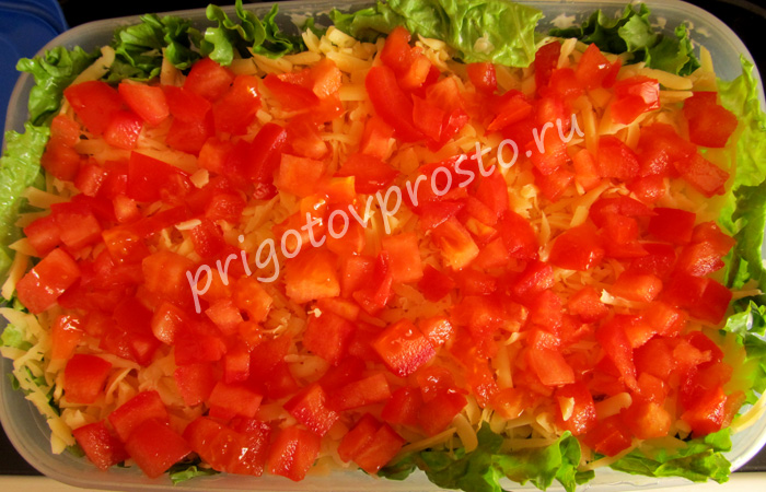"""Салат """"Слоями с помидорами"""""""