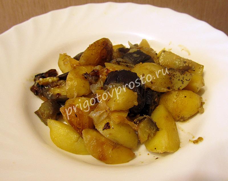 Как пожарить картошку с баклажанами