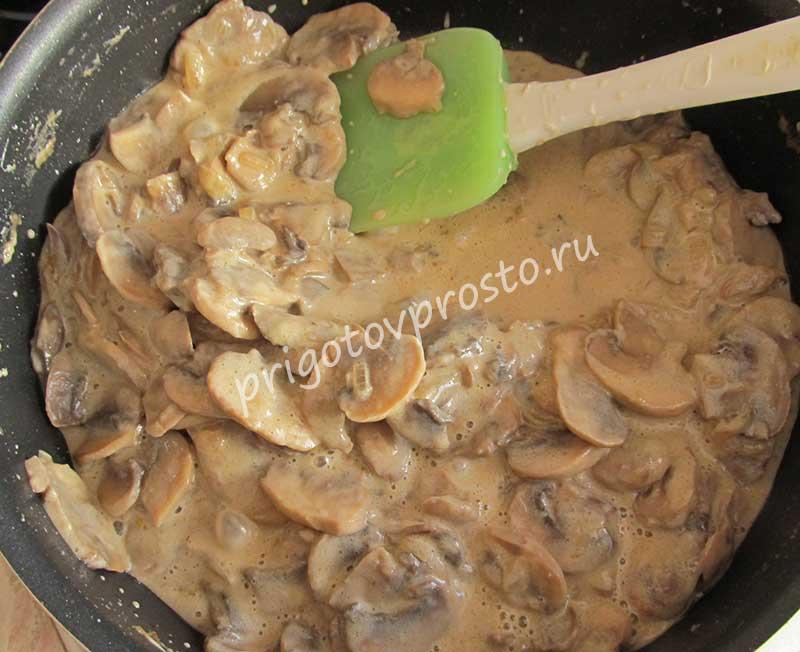 Как приготовить грибы в сметане на сковороде рецепт пошаговый
