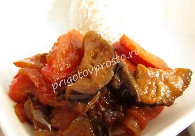 Пикантные баклажаны в остро-сладком соусе