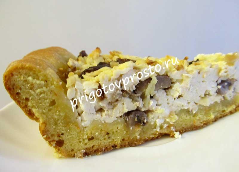 открытый пирог с адыгейским сыром