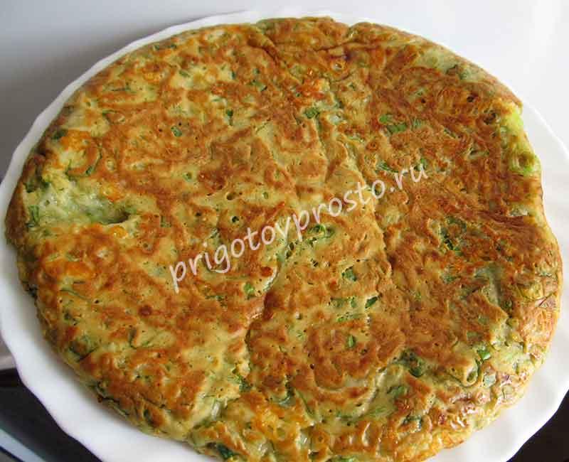сырная лепешка с зеленью на сковороде без масла
