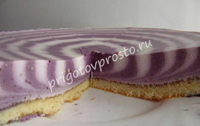 новогодний фиолетово-белый торт